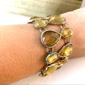 "Faceted Crystal Bold Toggle Bracelet Gold Tone 7"""